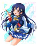 1girl bangs blue_hair commentary_request cosplay dated hair_between_eyes happy_birthday highres jacket jacket_on_shoulders kagura_hikari kagura_hikari_(cosplay) long_hair looking_at_viewer love_live! love_live!_school_idol_project mimori_suzuko open_mouth simple_background smile solo sonoda_umi sparkle_hair_ornament yellow_eyes yuupenman