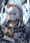 1girl anastasia_(fate/grand_order) bangs blue_eyes choker collarbone eyebrows_visible_through_hair fate/grand_order fate_(series) hair_between_eyes hairband highres ice jewelry long_hair mady_(madine08260) necklace parted_lips silver_hair solo upper_body very_long_hair yellow_hairband