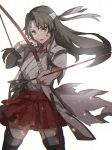 1girl alternate_hairstyle arrow_(projectile) bangs blood blood_on_face boots bow_(weapon) gloves green_eyes green_hair hakama hakama_skirt headband highres holding holding_bow_(weapon) holding_weapon japanese_clothes kantai_collection kasumi_(skchkko) long_hair open_mouth partly_fingerless_gloves simple_background single_glove skirt solo thigh-highs thigh_boots torn_clothes weapon white_background yugake zuikaku_(kantai_collection)