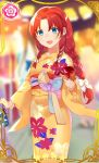 1girl :d alternate_costume bag bangs blue_eyes blurry blurry_background blush candy_apple card_(medium) commentary_request earrings floral_print food hair_ribbon highres holding holding_bag holding_food hong_meiling japanese_clothes jewelry kanta_(pixiv9296614) kimono long_braid long_hair looking_at_viewer low-tied_long_hair open_mouth orange_kimono parted_bangs print_kimono redhead ribbon side_braids smile solo stud_earrings touhou tress_ribbon white_ribbon