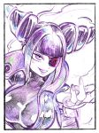 1girl bangs beckoning blunt_bangs bodysuit breasts capcom drill_hair eyepatch female female_only fingerless_gloves gloves han_juri high_collar large_breasts latex pink_eyes purple_hair sidelocks sketch skin_tight smile smirk solo street_fighter street_fighter_v takumi_watanuki twin_drills upper_body