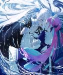 2girls blush braid bubble closed_eyes hair_ornament holding_hands hololive kagura_mea kagura_mea_channel long_hair maid_headdress minato_aqua multiple_girls open_mouth purple_hair silver_hair twin_braids twintails underwater user_ynra3743 water