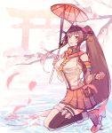 1girl :d bare_shoulders black_legwear breasts brown_hair cherry_blossoms from_side full_body headgear holding holding_umbrella kantai_collection kasumi_(skchkko) large_breasts long_hair looking_at_viewer open_mouth oriental_umbrella ponytail single_thighhigh sitting smile solo thigh-highs torii umbrella yamato_(kantai_collection)