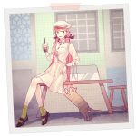 1girl akashi_(kantai_collection) alternate_costume animal bag bangs blush breasts cat cup disposable_cup dress drinking_straw green_eyes green_legwear hair_ribbon hat highres holding holding_cup kantai_collection kasumi_(skchkko) long_hair medium_breasts open_mouth pink_hair ribbon sitting socks solo stool table tress_ribbon white_dress white_headwear