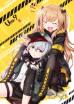 2girls :d :o ^_^ armband black_bow black_footwear black_gloves black_jacket black_shorts black_skirt blush boots bow brown_eyes brown_hair brown_legwear character_name closed_eyes commentary_request cross-laced_footwear fingerless_gloves flat_cap g11_(girls_frontline) girls_frontline gloves green_headwear green_jacket hair_bow hair_ornament hairclip haradaiko_(arata_himeko) hat highres hood hood_down hooded_jacket hug hug_from_behind jacket knee_pads knee_up knees_up lace-up_boots long_hair multiple_girls open_clothes open_jacket open_mouth pantyhose parted_lips pleated_skirt shirt short_shorts shorts silver_hair sitting skirt smile twintails ump9_(girls_frontline) very_long_hair white_shirt yellow_background