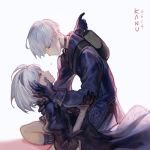 1boy 1girl artist_name backpack bag black_choker black_gloves black_hairband blue_eyes blush choker closed_mouth crying dated feather_trim gloves green_backpack grey_background hairband hand_on_another's_face holding holding_another kanu_(kanu_0001) kneeling looking_at_another nier_(series) nier_automata parted_lips puffy_sleeves short_hair signature tears white_hair yorha_no._2_type_b yorha_no._9_type_s