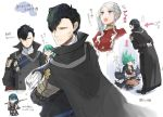 1boy 2girls arms_behind_back black_hair blue_eyes blue_hair byleth_(fire_emblem) byleth_(fire_emblem)_(female) cape closed_mouth crossed_arms edelgard_von_hresvelg fire_emblem fire_emblem:_three_houses from_side gloves green_eyes green_hair hair_over_one_eye holding holding_sword holding_weapon hubert_von_vestra long_hair long_sleeves looking_to_the_side multiple_girls open_mouth pantyhose robaco short_hair side_ponytail simple_background smile squatting sword sword_of_the_creator violet_eyes weapon white_background white_gloves white_hair