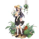 1girl alternate_costume bag bangs black_dress black_eyes black_hair blue_bow bow brown_footwear claes collarbone dress flower full_body girls_frontline glasses gunslinger_girl hat hat_bow holding holding_flower kneehighs leaf long_hair looking_at_viewer official_art pink_bag plant pot puffy_short_sleeves puffy_sleeves shoes short_sleeves sidelocks smile solo standing straw_hat teeth transparent_background watch watch watering_can white_flower white_legwear