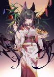 1girl animal_ear_fluff animal_ears bamboo bangs black_hair candy_apple commentary eyebrows_behind_hair fang food food_in_mouth full_moon hair_between_eyes highres holding holding_food japanese_clothes kimono long_hair machi_(7769) moon mouth_hold multicolored_hair night night_sky obi original purple_hair sash sky solo standing star_(sky) starry_sky symbol_commentary takoyaki tanabata tanzaku two-tone_hair very_long_hair violet_eyes white_kimono