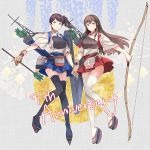 2girls akagi_(kantai_collection) anniversary arrow_(projectile) bangs black_legwear blue_hakama blush bow_(weapon) brown_gloves brown_hair closed_mouth flight_deck flower full_body gloves hakama hakama_skirt highres holding holding_arrow holding_bow_(weapon) holding_hands holding_weapon japanese_clothes kaga_(kantai_collection) kantai_collection kasumi_(skchkko) long_hair multiple_girls muneate partly_fingerless_gloves ponytail quiver red_hakama rigging sandals side_ponytail single_glove smile tasuki thigh-highs weapon white_legwear yugake