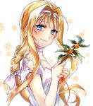 1girl alice_schuberg blonde_hair blue_eyes bow braid braided_ponytail choker closed_mouth floating_hair from_side hair_bow hair_intakes hairband long_hair looking_at_viewer mady_(madine08260) ponytail shiny shiny_hair shirt short_sleeves simple_background smile solo string string_of_fate sword_art_online upper_body very_long_hair white_background white_bow white_choker white_hairband white_shirt