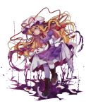 1girl blonde_hair boots cross-laced_footwear dress gloves gradient_eyes hat highres lace-up_boots long_hair looking_down mob_cap multicolored multicolored_eyes purple_dress shen_li short_sleeves skirt_hold smile solo touhou transparent_background white_gloves white_legwear yakumo_yukari