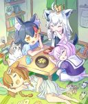 4girls animal_ear_fluff animal_ears animal_on_head bangs black_hair blue_shirt bone_hair_ornament braid brown_hair card cat cat_ears cat_girl cat_on_head cat_tail chibi closed_eyes commentary_request dog_ears dog_girl dog_tail dress dress_pull earrings eyebrows_visible_through_hair fox_ears fox_girl fox_tail glass hair_between_eyes hair_ornament hairclip halterneck highres holding holding_phone hololive hololive_gamers indoors inugami_korone jewelry multicolored_hair multiple_girls nekomata_okayu nintendo_switch on_head ookami_mio open_mouth orange_eyes phone pillow playing_card purple_hair purple_shirt redhead shirakami_fubuki shirt short_sleeves sidelocks single_braid sleeping table tail twin_braids two-tone_hair white_dress white_hair white_shirt wolf_ears wolf_girl wolf_tail yunra665