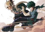 2boys absurdres artist_name bakugou_katsuki bangs black_gloves blonde_hair bodysuit boku_no_hero_academia boots commentary_request elbow_gloves explosive eye_mask freckles from_side gloves green_bodysuit green_hair grenade grin hair_ornament hand_up highres male_focus messy_hair midoriya_izuku multiple_boys nakamu_405 red_eyes red_gloves short_hair smile spiky_hair teeth thigh-highs thigh_boots two-tone_gloves white_gloves