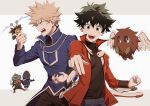 2boys anger_vein bakugou_katsuki blonde_hair blue_jacket boku_no_hero_academia cosplay duel_monster freckles green_hair highres jacket liyuchen1126 looking_at_viewer midoriya_izuku multiple_boys open_mouth red_jacket simple_background white_background yuu-gi-ou yuu-gi-ou_gx