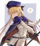 ! 1girl absurdres artoria_pendragon_(caster) blonde_hair blush cowboy_shot eyebrows_visible_through_hair fate/grand_order fate_(series) gloves green_eyes hair_between_eyes hat highres long_hair sheath sheathed solo speech_bubble standing sword twintails weapon yorukun