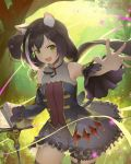 1girl 385oo animal_ear_fluff animal_ears bad_id bad_pixiv_id bangs bare_shoulders black_hair blue_dress blush breasts brooch cat_ears cat_girl cat_tail commentary detached_sleeves dress eyebrows_visible_through_hair foreshortening frilled_dress frills grass green_eyes highres jewelry karyl_(princess_connect!) long_hair looking_at_viewer low_twintails multicolored_hair open_mouth outstretched_arm perspective princess_connect! princess_connect!_re:dive sheet_music solo streaked_hair tail thigh-highs tree twintails very_long_hair white_hair