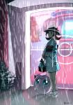 1girl bow brown_eyes brown_hair bush commentary doorway english_commentary eyelashes gen_1_pokemon hat hat_bow highres holding jigglypuff knees kotone_(pokemon) outdoors pokemon pokemon_(creature) pokemon_(game) pokemon_center pokemon_masters rain sad sarahc sash signature standing twintails water white_headwear