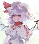 1girl adapted_costume bat_wings capelet commentary dress hat hat_ribbon kusariuta lavender_hair long_sleeves looking_at_viewer medium_hair mob_cap red_eyes red_ribbon remilia_scarlet ribbon solo touhou upper_body white_background white_dress white_headwear wings
