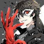 1boy adjusting_clothes adjusting_gloves amamiya_ren black_hair black_jacket domino_mask gloves grey_shirt grin jacket looking_at_viewer male_focus mask persona persona_5 red_eyes red_gloves routo_(rot_0) shirt simple_background smile solo