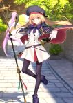 1girl artist_request artoria_pendragon_(caster) blonde_hair day fate/grand_order fate_(series) gloves hair_between_eyes hat long_hair long_sleeves looking_at_viewer official_art outdoors pantyhose sheath sheathed skirt solo staff standing standing_on_one_leg sword tree twintails weapon