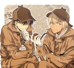 2boys amuro_tooru blue_eyes border brown_coat brown_hair brown_headwear character_name chin_stroking closed_mouth coat collared_shirt commentary_request dark_skin dark_skinned_male deerstalker gloves hair_between_eyes hat holding holding_pipe kudou_shin'ichi looking_at_viewer male_focus mashima_shima meitantei_conan multiple_boys newspaper outline outside_border pipe shirt smile thinking twitter_username white_border white_gloves white_outline white_shirt