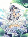 1girl :o bangs bare_arms black_hair blue_eyes commentary_request dress eyebrows_visible_through_hair fairy fairy_wings flower flower_request hair_between_eyes hair_flower hair_ornament highres holding holding_flower hydrangea long_hair looking_at_viewer mameberry marker_(medium) original seiza sidelocks sitting sleeveless solo traditional_media very_long_hair water_drop white_dress wings
