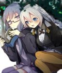 2girls black_dress black_jacket blue_eyes blurry blurry_background blush book braid breasts commentary dress expressionless flat_chest glasses grey_hair half-closed_eyes highres holding holding_book jacket kizuna_akari long_hair medium_breasts multiple_girls open_book open_mouth orange_legwear purple_dress purple_hair purple_legwear rasu_(mtn) semi-rimless_eyewear side-by-side sidelocks sitting smile striped striped_legwear thigh-highs tree v-shaped_eyebrows violet_eyes voiceroid yuzuki_yukari