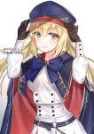 1girl adjusting_headwear arms_up artist_name artoria_pendragon_(all) artoria_pendragon_(caster) bangs belt blonde_hair blue_belt blue_bow blue_cape blue_capelet blush bow bowtie breasts brown_gloves buttons cape capelet closed_mouth commentary_request cowboy_shot double-breasted eyebrows_visible_through_hair fate/grand_order fate_(series) gloves gradient gradient_background green_eyes grey_background hakuda_tofu hand_on_headwear hat highres jewelry long_hair long_sleeves looking_at_viewer multicolored multicolored_clothes o-ring red_cape skirt smile solo translation_request twintails white_background white_skirt