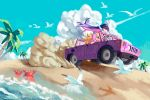 2girls beach bird calilo car colored_inner_hair crab driving ground_vehicle hummer katana motor_vehicle multicolored_hair multiple_girls panty_&_stocking_with_garterbelt panty_(psg) sand seagull stocking_(psg) sword two-tone_hair weapon