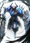 1boy armor black_cloak blue_fire cloak fate/grand_order fate_(series) fire full_body glowing glowing_eyes highres horned_headwear horns king_hassan_(fate/grand_order) looking_at_viewer makitoyuito male_focus shield skull skull_mask solo spikes weapon