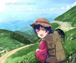 1girl backpack bag bangs blue_hair clouds dated day hair_between_eyes happy_birthday hat jyon long_hair looking_at_viewer looking_back love_live! love_live!_school_idol_project mountain mountainous_horizon open_mouth outdoors sky sonoda_umi yellow_eyes