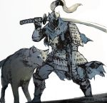 alternate_costume animal animal_ears armor artorias_the_abysswalker dark_souls full_armor gauntlets holding holding_sword holding_weapon japanese_armor katana miso_katsu over_shoulder pauldrons shoulder_armor signature simple_background sketch souls_(from_software) standing sword sword_over_shoulder torn_clothes weapon weapon_over_shoulder white_background wolf