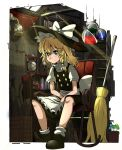 1girl apron black_dress black_footwear blonde_hair book bookshelf bow broom chair dress epic_armageddon flask hair_ribbon hat hat_bow highres kirisame_marisa lamp looking_at_viewer mushroom plant potion potted_plant ribbon rocking_chair sitting solo stairs sunlight touhou waist_apron white_legwear window witch_hat yellow_eyes