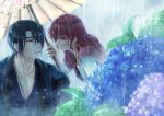 1boy 1girl 2018 akatsuki_no_yona black_hair blue_eyes blue_flower blue_kimono blurry_foreground cao_(cucurbita_k) collarbone dated earrings flower hak_(akatsuki_no_yona) half-closed_eyes highres holding holding_umbrella hydrangea japanese_clothes jewelry kimono leaning_forward long_hair long_sleeves outdoors rain redhead shiny shiny_hair signature umbrella wet wet_hair white_sleeves white_umbrella yona_(akatsuki_no_yona)