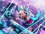 bang_dream! blush dress keyboard_(instrument) long_hair nyubara_reona pareo_(bang_dream!) purple_hair red_eyes smile twintails