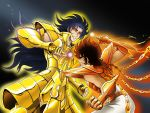 armor ba_(artist) brown_hair fighting gemini_saga phoenix_ikki saint_seiya simple_background