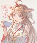1girl :d ahoge bare_shoulders brown_hair cup dated detached_sleeves grey_background hand_up heart holding holding_cup japanese_clothes kantai_collection kasumi_(skchkko) kongou_(kantai_collection) looking_at_viewer miko open_mouth signature simple_background smile solo teacup violet_eyes wide_sleeves