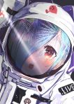 .live 1girl absurdres blue_hair blush close-up copyright_name facing_viewer fireworks hair_over_one_eye highres long_hair mushroom open_mouth red_eyes reflection round_teeth solo spacesuit suzushika_(13_96) teeth virtual_youtuber yamato_iori