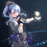 1girl beret blue_eyes blue_hair blurry choker commentary_request crown dark_background depth_of_field dress eyebrows_visible_through_hair eyes_visible_through_hair gloves hair_ribbon hat hololive hoshimachi_suisei microphone music open_mouth partly_fingerless_gloves ribbon shimozuki_shio side_ponytail singing solo star_(symbol) star_in_eye symbol_in_eye virtual_youtuber