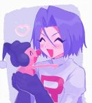 1boy 2ameyasan2 blush bob_cut closed_eyes gen_4_pokemon heart highres kojirou_(pokemon) lavender_hair mime_jr. pokemon pokemon_(creature) smile team_rocket