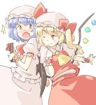 2girls arnest bat_wings blonde_hair blue_hair blush commentary cowboy_shot crystal fang flandre_scarlet gift hat holding holding_gift long_hair looking_at_another mob_cap multiple_girls one_eye_closed open_mouth pink_headwear pink_shirt pink_skirt pointing pointing_at_self puffy_short_sleeves puffy_sleeves red_eyes red_neckwear red_skirt red_vest remilia_scarlet shirt short_hair short_sleeves siblings side_ponytail simple_background sisters skin_fang skirt smile touhou vest white_background wings wrist_cuffs yellow_neckwear
