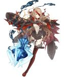1girl bandages belt belt_buckle blonde_hair blood bloody_bandages boots buckle cloak cross-laced_footwear deep_wound eyepatch frills full_body fur_trim grin injury ji_no little_red_riding_hood_(sinoalice) looking_at_viewer mace official_art orange_eyes sinoalice smile solo thigh-highs thigh_boots torn_clothes transparent_background weapon