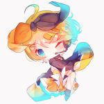 1girl bangs black_bow black_sleeves blonde_hair bloom blue_eyes bow chibi commentary full_body fuyuzuki_gato hair_bow hair_ornament hairclip headset highres japanese_clothes kagamine_rin kimono looking_at_viewer magical_mirai_(vocaloid) one_eye_closed orange_bow short_hair smile solo swept_bangs two-tone_bow vocaloid white_background