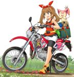 1girl 1other bandana bike_shorts black_shorts blue_eyes dress eyebrows_visible_through_hair fanny_pack full_body gen_3_pokemon gloves graphite_(medium) ground_vehicle hair_ribbon haruka_(pokemon) highres honda honda_crm80 looking_to_the_side mikeran_(mikelan) motor_vehicle motorcycle pokemon pokemon_(game) pokemon_oras ribbon shoes shorts skitty sleeveless sleeveless_dress traditional_media