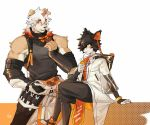 2boys animal_ears arknights bangs bara bare_shoulders black_hair character_request chest cropped_torso dog_ears furry hair_between_eyes highres horns hung_(arknights) male_focus multicolored_hair multiple_boys muscle orange_hair p2yong single_horn sleeveless streaked_hair white_hair