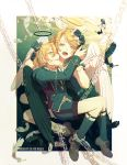 1boy 1girl angel angel_wings bangs black_flower black_jacket black_rose black_wings blonde_hair bound bound_legs bow chinese_commentary commentary_request cuffs fangs feathers flower full_body green_eyes hair_bow hair_flower hair_ornament hairclip half-closed_eyes halo hat jacket kagamine_len kagamine_rin kneehighs looking_at_viewer mini_hat mini_top_hat open_mouth rose shackles shorts smile swept_bangs top_hat uniform vocaloid w.r.b water white_bow wings