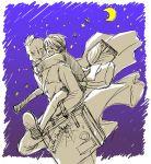 2boys black_hair cape carrying closed_eyes darren_shan kobutya4696 larten_crepsley moon multiple_boys necktie night night_sky piggyback scar short_hair shorts sky smile suitcase the_saga_of_darren_shan vest