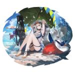 1girl alchemaniac alternate_costume arknights armpits arms_up bangs bare_legs bare_shoulders beach black_choker blush breasts choker cooler cup expressionless eyewear_on_head feet full_body hair_between_eyes hair_ornament hat hat_removed head_tilt headwear_removed highres knees_up large_breasts long_hair looking_at_viewer official_art red_eyes sandals sidelocks silver_hair sitting skadi_(arknights) solo sun_hat sunglasses table thigh_strap thighs transparent_background very_long_hair weapon_bag whale_hair_ornament