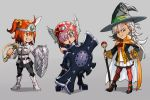 3girls armor black_footwear black_legwear black_skirt boots chaldea_uniform chibi crossover dragon_quest fate/grand_order fate_(series) fujimaru_ritsuka_(female) hand_on_hip hankuri hat headband helmet holding holding_shield holding_staff holding_sword holding_weapon jacket long_hair long_sleeves mash_kyrielight multiple_girls olga_marie_animusphere open_mouth orange_eyes orange_hair orange_legwear pantyhose parody pleated_skirt profile purple_hair shield short_hair simple_background skirt smile staff style_parody sword toriyama_akira_(style) violet_eyes weapon white_footwear white_hair white_jacket white_skirt witch_hat yellow_eyes